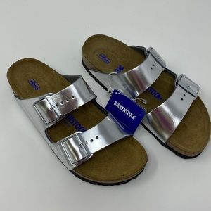 Birkenstock Arizona Sandals Silver Metallic 38R